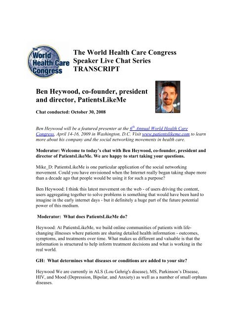 The World Health Care Congress Speaker Live Chat Series