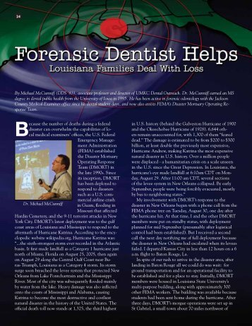 Forensic Dentist Helps - UMKC School of Dentistry