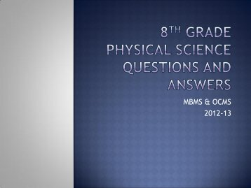 8th Grade Physical Science Questions and Answers