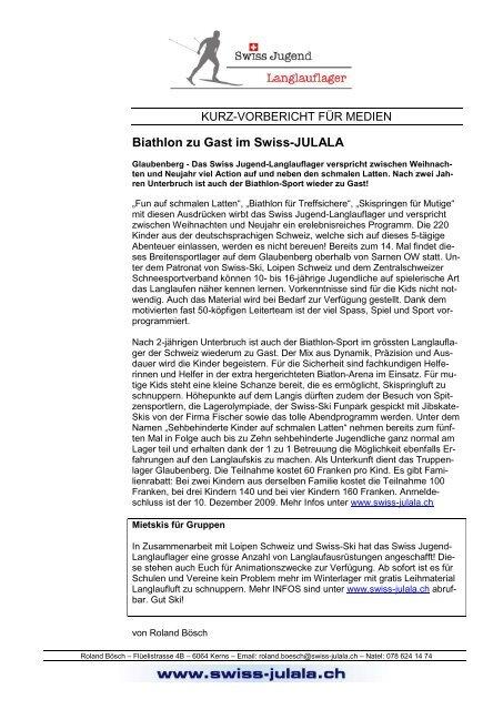 Brief Mit Adresse Von Ab Im Briefkopf Swiss Jugend Langlauflager