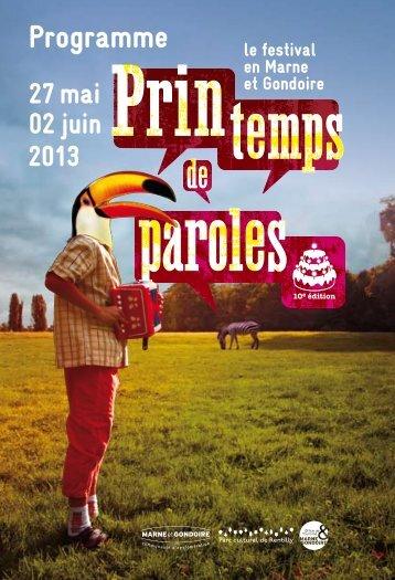 Le programme PrinTemps de Paroles 2013 - Communauté d ...