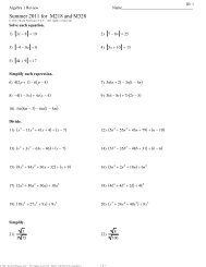 M218 and M328 Summer Algebra Packet.pdf - Schaumburg High ...