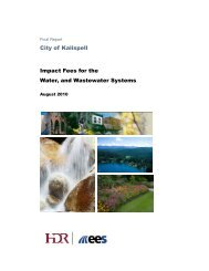 City of Kalispell Impact Fees for the Water, and Wastewater Systems