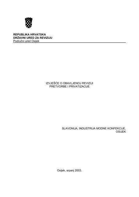 Republika Hrvatska Drå½avni Ured Za Reviziju Podruä Ni