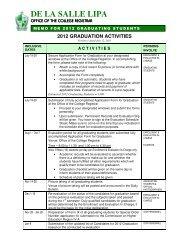 2012 graduation activities - De La Salle Lipa