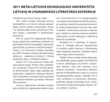 2011 metai lietuvos edukologijos universiteto lietuvių ir ... - Literatūra