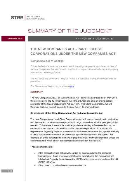 THE NEW COMPANIES ACT - PART I: CLOSE CORPORATIONS