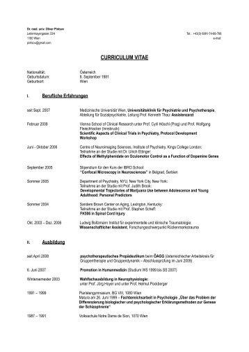 Lebenslauf und Publikationen - Caritas Krankenhaus St. Josef