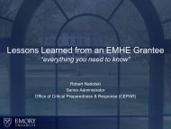 Lessons Learned from an EMHE Grantee - Readiness and ...