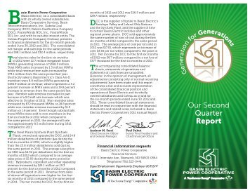 Our Second Quarter Report - Basin Electric Power Cooperative