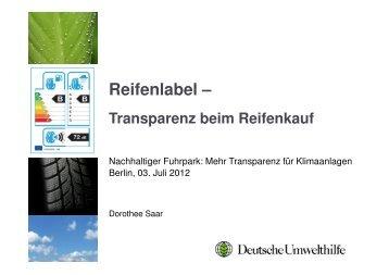 Dorothee Saar (DUH): Reifenlabel