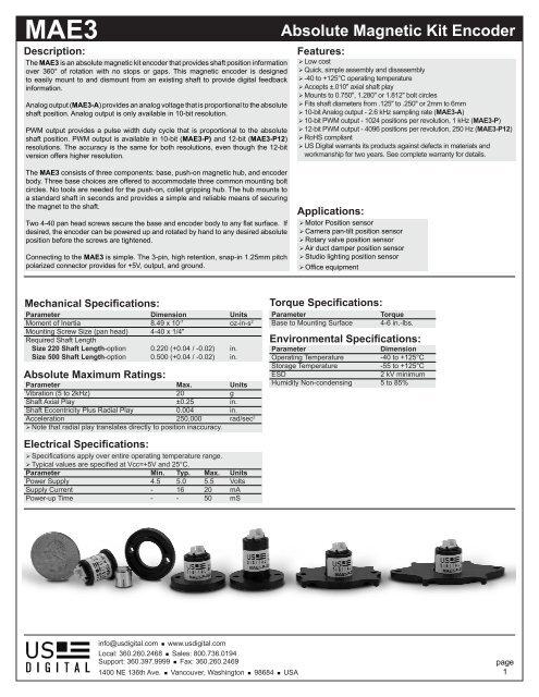 MAE3 Absolute Magnetic Kit Encoder