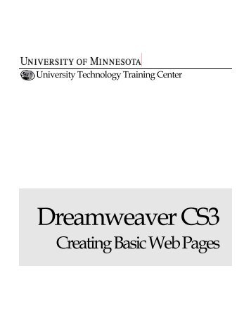 Creating Basic Web Sites - OIT - University of Minnesota