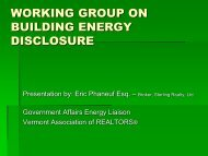 working group on building energy disclosure - Vermont Department ...