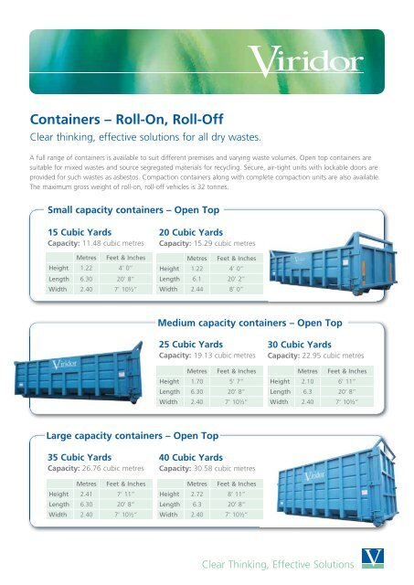 Containers – Roll-On, Roll-Off - Viridor