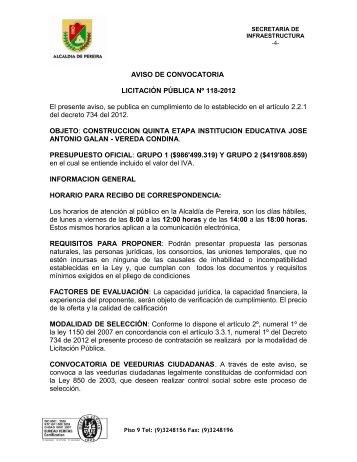 AVISO DE CONVOCATORIA LICITACIÓN PÚBLICA Nº 118-2012 El ...