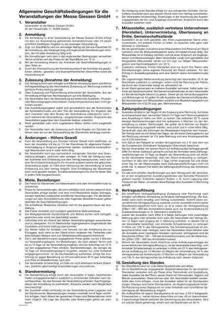 Allgemeine Geschäftsbedingungen für die Veranstaltungen der ...