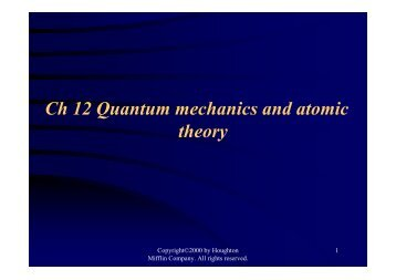 Ch 12 Quantum mechanics and atomic theory