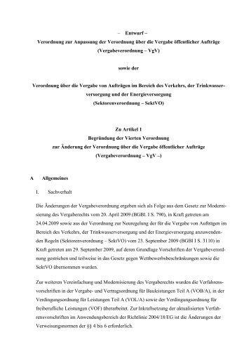 Vergabeverordnung – VgV - Oeffentliche Auftraege