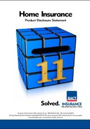 Home Insurance Product Disclosure Statement - RACT