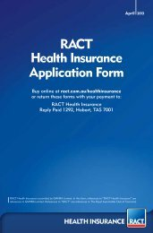 RACT Health Insurance Application Form