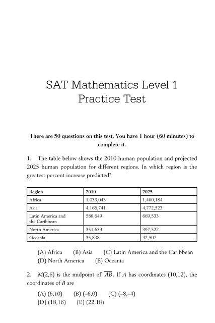 Sat Practice Test Math