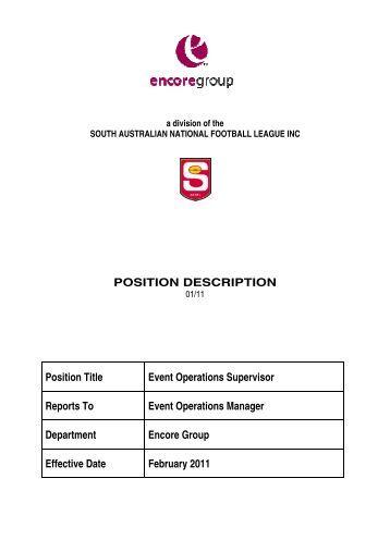 job description position title venue catering manager       sanflposition description position title event operations       sanfl