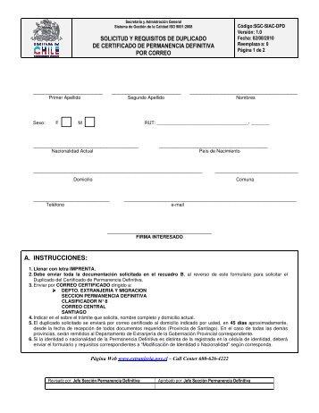 solicitud y requisitos de duplicado de certificado de permanencia ...