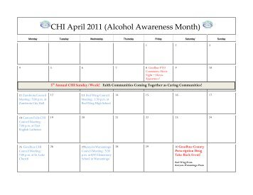 CHI April 2011 (Alcohol Awareness Month) - CHI of Goodhue County
