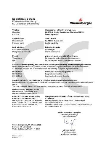 EG-Konformitätserklärung EC declaration of conformity DÃ