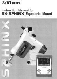 SPHINX Equatorial Mount Instruction Manual - Vixen Optics