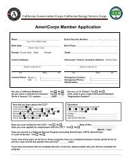AmeriCorps Member Application - California Conservation Corps