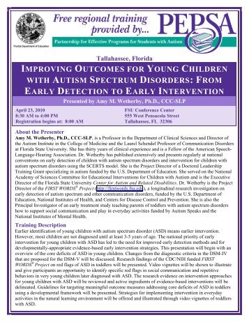 improving outcomes for young children with autism spectrum disorders
