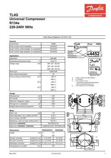 TL4F Standard Compressor R134a 220-240V 50Hz