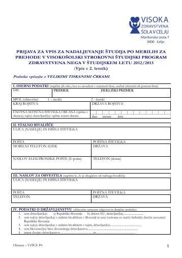 Obrazec za prijavo za vpis 2012-2013 po merilih za prehode