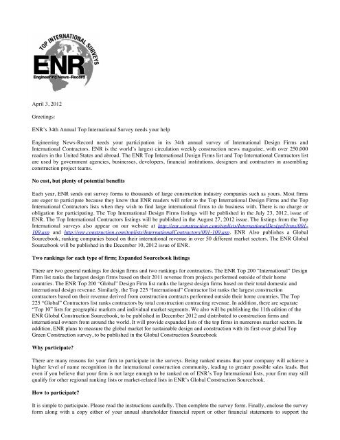 ENR Top International Cover Letter - Engineering News-Record