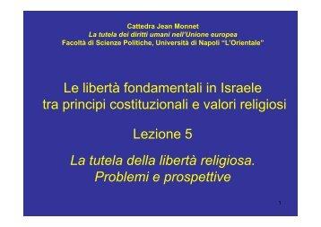 La tutela della libertà religiosa - Università degli studi di Napoli L ...