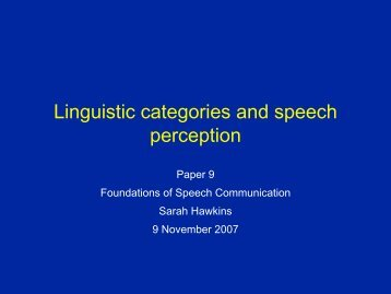 Linguistic categories and speech perception