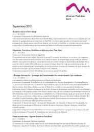 Expositions 2012 - Zentrum Paul Klee