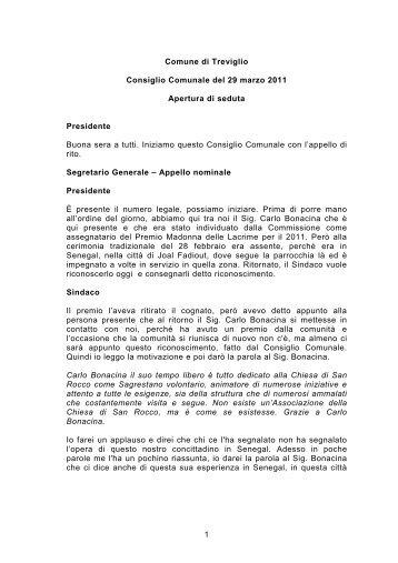 Verbale CC 29 marzo 2011 - Comune di Treviglio