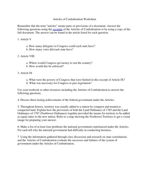 Nidecmege: The Articles Of Confederation Worksheet
