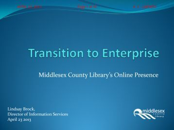 Visioning Topic – Transition to Enterprise - County of Middlesex