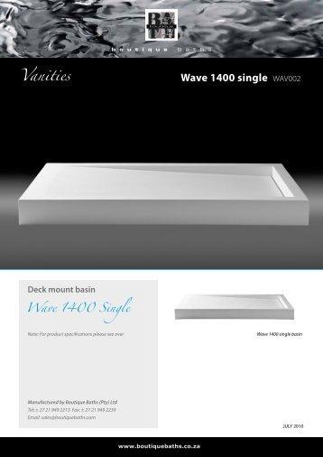 Wave 1400 single WAV002 Vanities - Boutique Baths