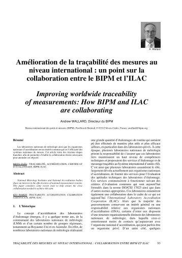 Amélioration de la traçabilité des mesures au niveau international ...