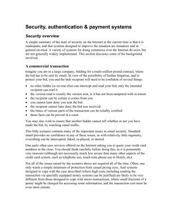 Security, authentication & payment systems - DSpace Service