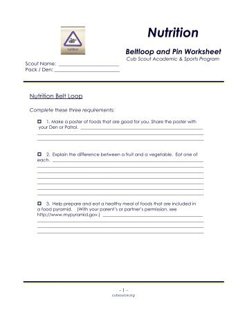 Disabilities Awareness Beltloop and Pin Worksheet - Cub Source