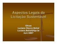 Aspectos Legais da Licitação Sustentável - GVces