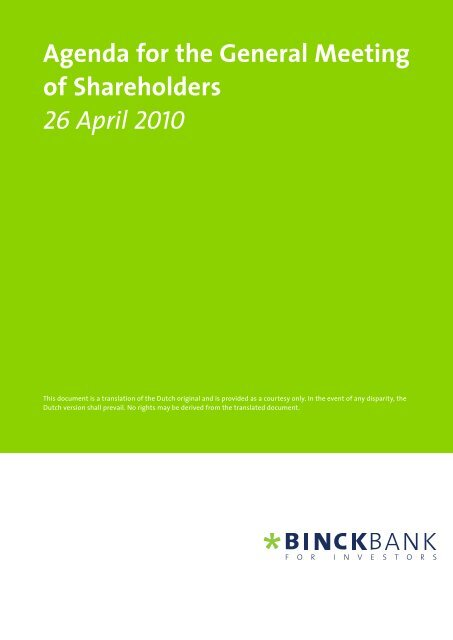 Agenda for the General Meeting of Shareholders 26 ... - at BinckBank