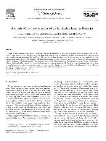 Analysis of the heat transfer of an impinging laminar flame jet