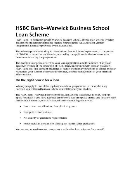 HSBC Bank-London Business School Loan Scheme - Warwick